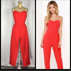 Pants - Red Strapless Playsuit